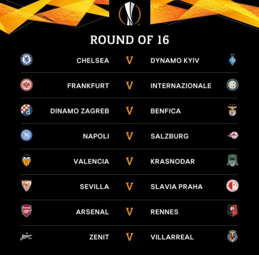 欧联杯16强对阵阿森纳遭遇雷恩 切尔西战乌克兰班霸